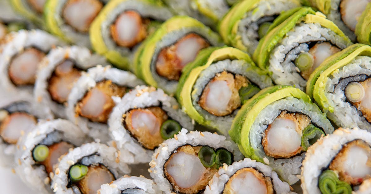A dish is filled with sushi