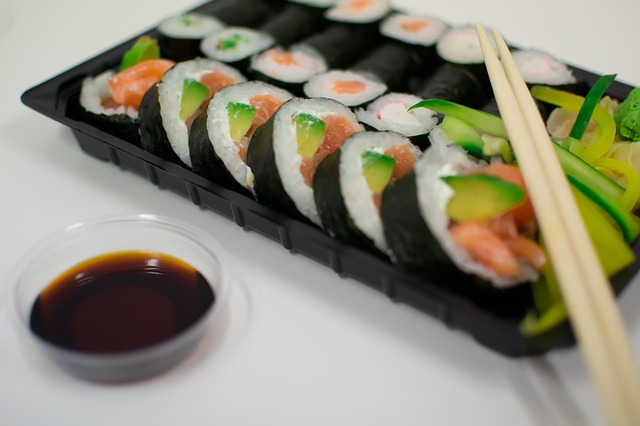 A tray of sushi